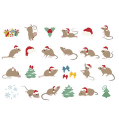 Different mice christmas collection mouse poses vector
