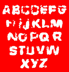 distressed grunge alphabet stamp ink font vector image