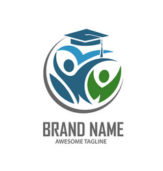 education logo people celebration student and vector image