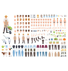 Farmer or agricultural worker constructor set or vector