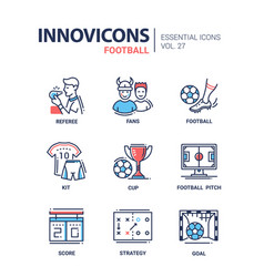 Football - modern color single line icons vector