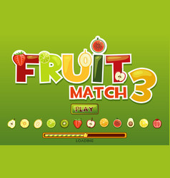 fruit match3 on background and fruits icons vector image