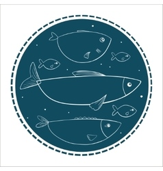 Funny fishes in circle shape on a dark background vector