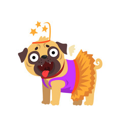 Funny pug dog character dressed as fairy funny vector