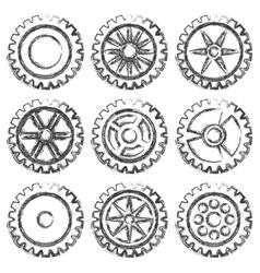Gears set grunge vector image