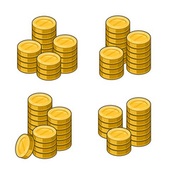 gold coins stack set on white background vector image