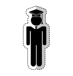graduated figure silhouette icon vector image