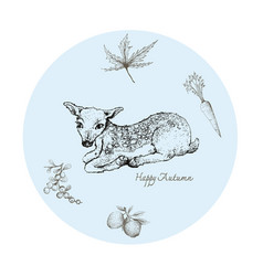 Hand drawn fawn deer with autumn fruits and pla vector