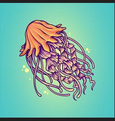 hand drawn isolated jellyfish marine animals vector image