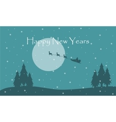 Happy New Year with train Santa scenery vector
