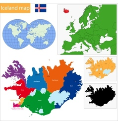 Iceland map vector