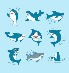 kawaii sharks collection funny cute fish cartoon vector image