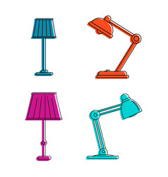 lamp icon set color outline style vector image