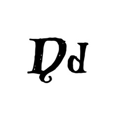 letter d handwritten by dry brush rough strokes vector image