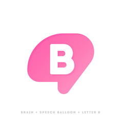 logo template or icon of brain with letter b vector image