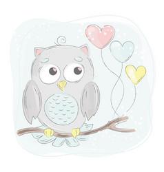 love owl cartoon bird forest animal vector image