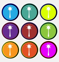 Mace icon sign Nine multi colored round buttons vector