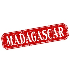 Madagascar red square grunge retro style sign vector