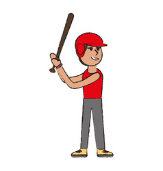 man playing baseball with helmet and bat sport o vector image