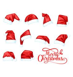 Merry christmas holiday santa claus hat vector