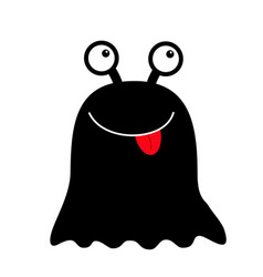 monster black round silhouette two eyes red vector image