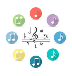 music notes icon in flat style isolated on vector image