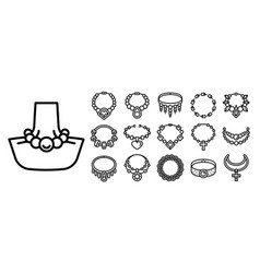 Necklace icon set outline style vector