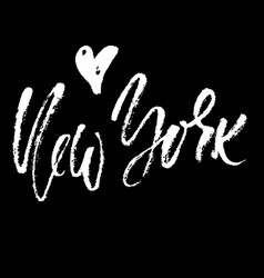 New york lettering hand drawn modern dry brush vector