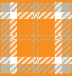 Orange grey and white tartan plaid seamless patter vector