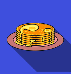 pancakes with honey icon in flat style isolated on vector image