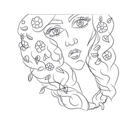 portrait of a girl drawing lines vector image