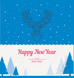 Postcard template deer forest happy new year and vector