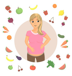Pregnancy healthy diet cartoon vector