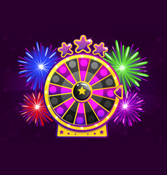 purple wheel of fortune and firework for ui vector image