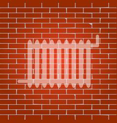 radiator sign whitish icon on brick wall vector image vector image