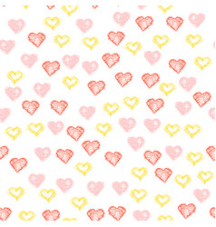 repeated hearts drawn by hand cute seamless vector image