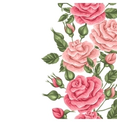 Seamless border with vintage roses Decorative vector image