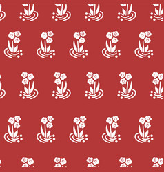 seamless pattern folk flowers white on red vector image