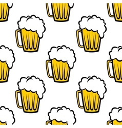 Seamless pattern with tankards of frothy beer vector image