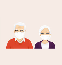 Senior man and woman wearing protective mask vector
