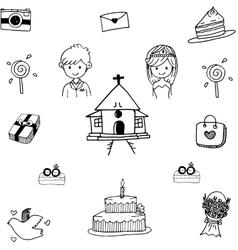 Set Wedding in doodle vector