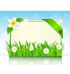 sheet of paper in the green grass and flowers vector image