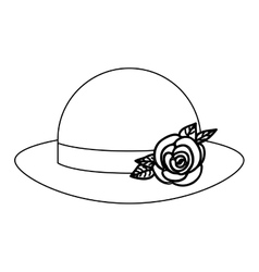 Silhouette lace bowler hat roses retro design vector
