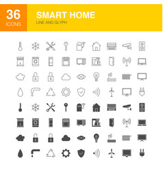 smart home line web glyph icons vector image