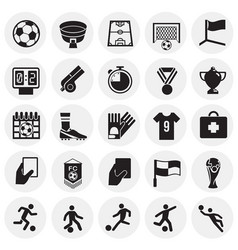 Soccer icons set on cirles background for graphic vector
