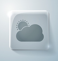 Sun behind the cloud Glass square icon vector