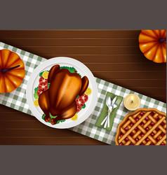 Thanksgiving turkey dinner on white wooden table vector