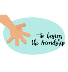the beginning of friendship brotherly handshake vector image