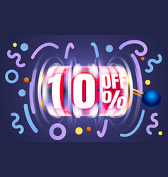 Up to 10 off sale banner promotion flyer slots vector