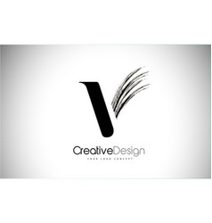 V brush stroke letter logo design black paint vector